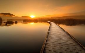 Картинка закат, мост, природа, озеро