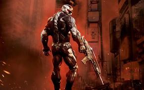 Обои боец, Crysis 2, Город, нанокостюм, crysis 2, Crytek, Кризис, оружие