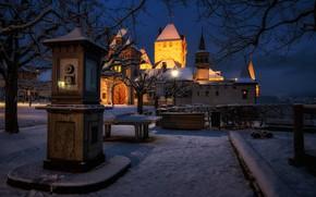 Картинка зима, снег, замок, Швейцария, ночной город, Switzerland, метеостанция, Замок Оберхофен, Oberhofen Castle, Оберхофен-ам-Тунерзее, Oberhofen am …