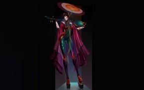 Картинка Girl, Fantasy, Art, Music, Style, Umbrella, Background, Illustration, Minimalism, Geisha, Cyberpunk, Character, Katya Cyan, Dragonfly …