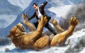 Картинка Мужик, Борьба, Саблезубый тигр