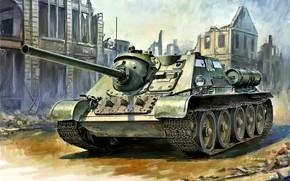 Картинка СССР, САУ, Истребитель танков, Красная Армия, СУ-85, времен Второй Мировой войны, Развалины дома