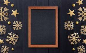 Картинка зима, снежинки, рамка, golden, черный фон, black, Christmas, winter, background, snowflakes, frame