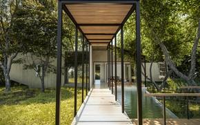 Картинка трава, деревья, бассейн, галерея, архитектура