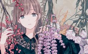 Картинка цветы, портрет, девочка
