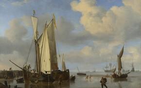 Картинка корабль, картина, парус, Виллем ван де Велде Младший, Dutch Vessels Inshore and Men Bathing, Willem …