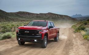 Картинка красный, пыль, Chevrolet, пикап, Silverado, Z71, Trail Boss, 2019, Silverado LT