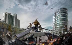 Картинка Небо, Облака, Горы, Огонь, Здание, Оружие, Call of Duty, Военный, Вертолёт, Activision, Экипировка, Отряд, Warzone, …