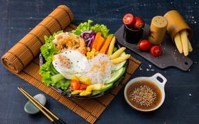 Картинка яичница, овощи, помидоры, соус