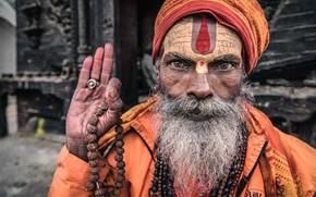 Картинка Nepal, Kathmandu, Portrait of a sadhu