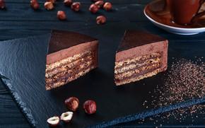 Картинка шоколад, торт, пирожное, орехи, десерт, ореховый