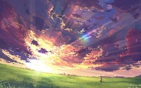 Картинка небо, закат, природа, человек