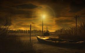Картинка небо, трава, солнце, облака, свет, пейзаж, закат, тучи, природа, рендеринг, берег, столбы, провода, лодка, лодки, …