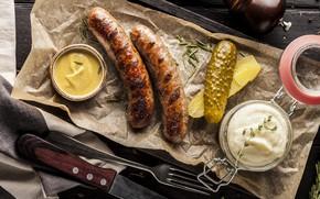 Картинка огурец, соус, колбаски, горчица