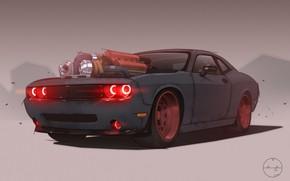 Картинка Авто, Рисунок, Машина, Dodge, Challenger, Art, Dodge Challenger, Demon, Mike Patrick, by Mike Patrick, Supercharged …