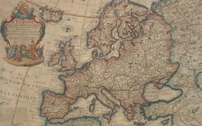 Картинка old maps, старые карты, 1700, Карта Европы, Vintage Europe map, Parchment, Map of Europe