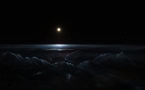 Картинка Облака, Ночь, Звезды, Молния, Планета, Космос, Свет, Fantasy, Арт, Stars, Space, Art, Спутник, Planet, Фантастика, …