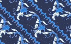 Картинка цветы, синий, фон, узор, текстура, blue, background, floral, Batik
