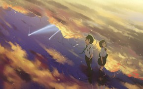 Картинка вода, девушка, арт, парень, двое, kimi no na wa, tachibana taki, miyamizu mitsuha