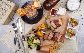 Картинка мясо, соус, салат, специи, закуска, ассорти