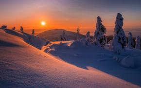 Картинка зима, снег, деревья, закат, гора, сугробы, Россия, Мурманская область, Гора Волосяная