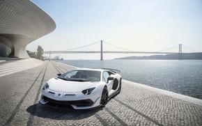 Картинка мост, Lamborghini, суперкар, 2018, Aventador, Лиссабон, SVJ, Aventador SVJ