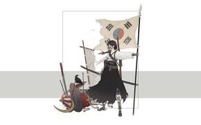 Картинка Девушка, Минимализм, Стиль, Флаг, Азиатка, Girl, Меч, Самурай, Арт, Art, Asian, South Korea, Корея, Style, …