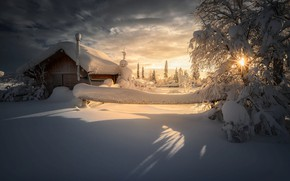 Картинка зима, солнце, лучи, снег, деревья, пейзаж, природа, дом, тени