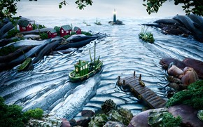 Картинка море, маяк, горизонт, sea, horizon, lighthouse, шхуна, сельдь, Карл Уорнер, Carl Warner, фудскейп, edible landscapes, …