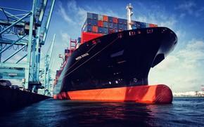 Картинка Порт, Судно, Контейнеровоз, Краны, Port, Бак, Maersk, Maersk Line, Бульб, Волнорез, Mærsk, Container Ship, Edison, …