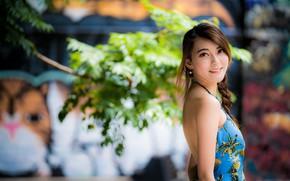 Картинка девушка, улыбка, азиатка, милашка, боке