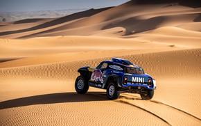 Картинка Песок, Mini, Пустыня, Машина, Скорость, 300, Rally, Dakar, Дакар, Ралли, Дюна, Buggy, Багги, X-Raid Team, …