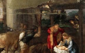Картинка ослик, Тициан, Рождество Христово