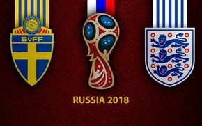 Картинка wallpaper, sport, logo, football, FIFA World Cup, Russia 2018, Sweden vs England