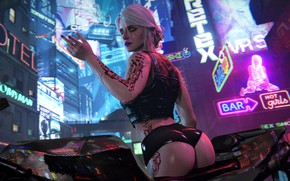 Обои Город, киберпанк, Art, Фантастика, cyberpunk, Cyberpunk 2077, Цири, Ciri, Cirilla, Cd projekt red, Cirilla fiona ...