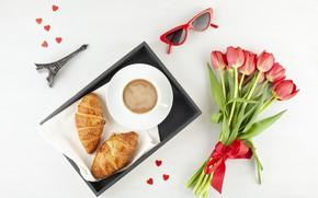 Картинка кофе, букет, утро, круассан