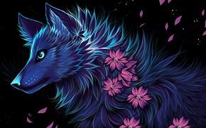 Картинка цветы, ночь, волк, myarukawolf, by myarukawolf