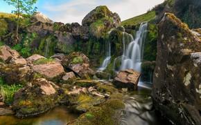 Обои ручей, камни, скалы, Англия, водопад, мох, Wales