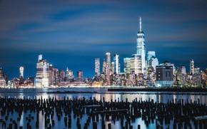 Картинка здания, залив, ночной город, небоскрёбы, сваи, штат Нью-Джерси, Джерси-Сити, Jersey City, New York Harbor, Нью-Йоркская …