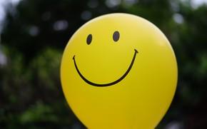 Картинка смайл, yellow, happy, шарик, smile, воздушный шар, balloon, желтый