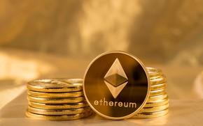 Картинка лого, gold, fon, coins, эфир, eth, ethereum