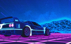 Картинка Музыка, Ferrari, F40, 80s, Neon, Ferrari F40, VHS, 80's, Synth, Retrowave, Synthwave, New Retro Wave, …