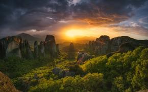 Картинка солнце, пейзаж, закат, горы, природа, Греция, леса, монастырь, Метеоры, Краси Матаров