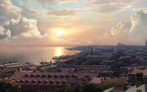 Картинка море, город, набережная, Concept artist, Olga Antonenko