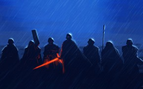 Картинка Star Wars, Дождь, Меч, Fantasy, Art, Световой Меч, Ситх, Rain, Бойцы, Ливень, Characters, Отряд, Kylo …