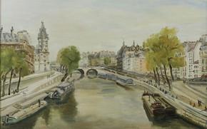 Картинка картина, городской пейзаж, Люсьен Адрион, Lucien Adrion, Париж. Набережная