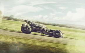 Картинка поле, небо, транспорт, автомобиль, The Batmobile