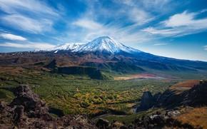 Картинка небо, горы, природа, вид, вулкан, вершина
