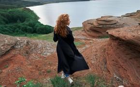 Картинка девушка, озеро, скалы, спина, высота, Natali, Скрипников Александр