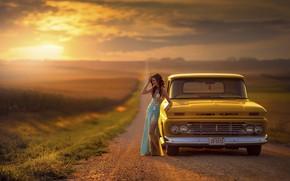 Картинка дорога, авто, девушка, закат, Jake Olson Studios